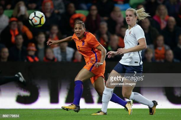 Shanice van de Sanden of Holland Women Elise Thorsnes of Norway Women during the World Cup Qualifier Women match between Holland v Norway at the...