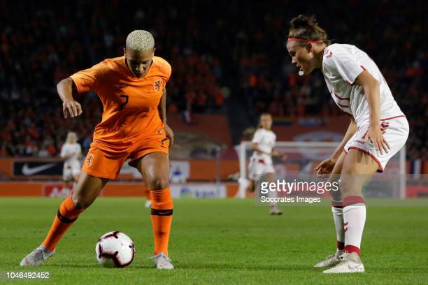 Shanice van de Sanden of Holland Women Katrine Veje of Denmark Women during the World Cup Qualifier Women match between Holland v Denmark at the Rat...
