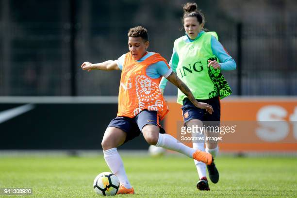 Shanice van de Sanden of Holland Women Merel van Dongen of Holland Women during the Training Holland Women at the KNVB Campus on April 3 2018 in...