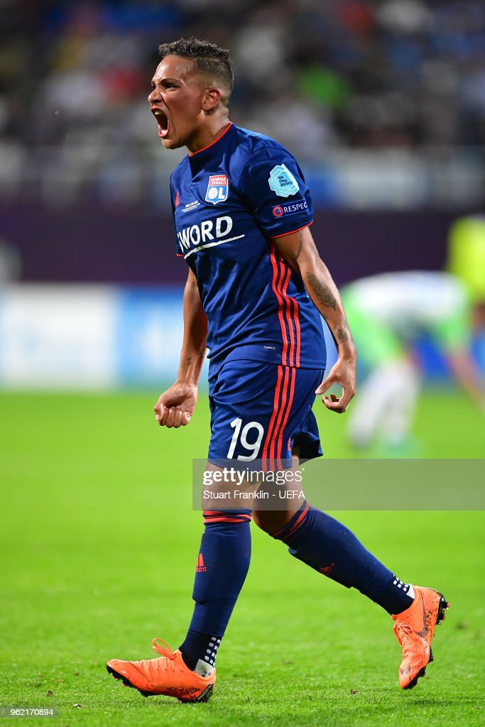 Shanice Van de Sanden of Lyon celebrates after assisting on Camille Abily of Lyon scoring her sides fourth goal during the UEFA Womens Champions League Final between VfL Wolfsburg and Olympique Lyonnais on May 24, 2018 in Kiev, Ukraine.