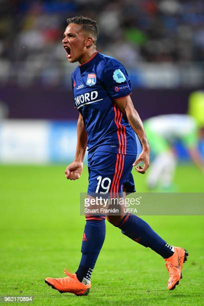 Shanice Van de Sanden of Lyon celebrates after assisting on Camille Abily of Lyon scoring her sides fourth goal during the UEFA Womens Champions...
