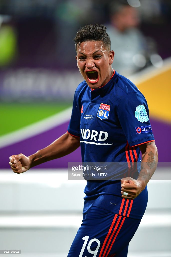 Shanice Van de Sanden of Lyon celebrates after the UEFA Womens Champions League Final between VfL Wolfsburg and Olympique Lyonnais on May 24, 2018 in Kiev, Ukraine.