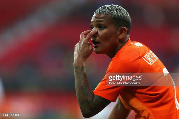 Shanice van de Sanden of Netherlands signals to a match official or referee during the International Friendly Women's match between Netherlands and...