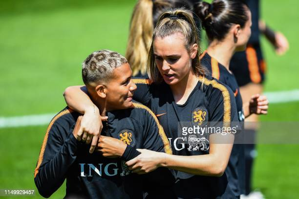 Shanice van de Sanden of Netherlands women Jill Roord of Netherlands women during a training session prior to the FIFA Women's World Cup France 2019...