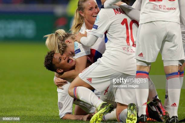 Shanice van de Sanden of Olympique Lyon Women Ada Hegerberg of Olympique Lyon Women Dzsenifer Marozsan of Olympique Lyon Women celebrate 21 during...