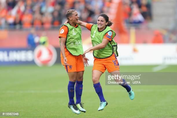 Shanice van de Sanden of the Netherlands and Danielle van de Donk of the Netherlands celebrate victory after the Group A match between Netherlands...