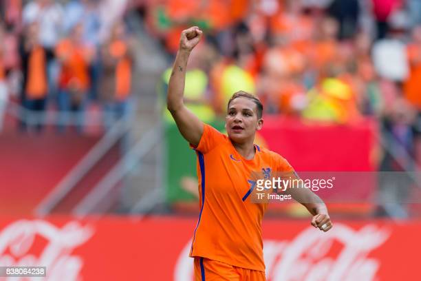 Shanice van de Sanden of the Netherlands celebrate their win during their Group A match between Netherlands and Norway during the UEFA Women's Euro...