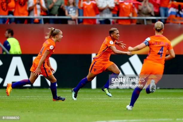 Shanice van de Sanden of the Netherlands celebrates after scoring her sides first goal during the Group A match between Netherlands and Norway during...