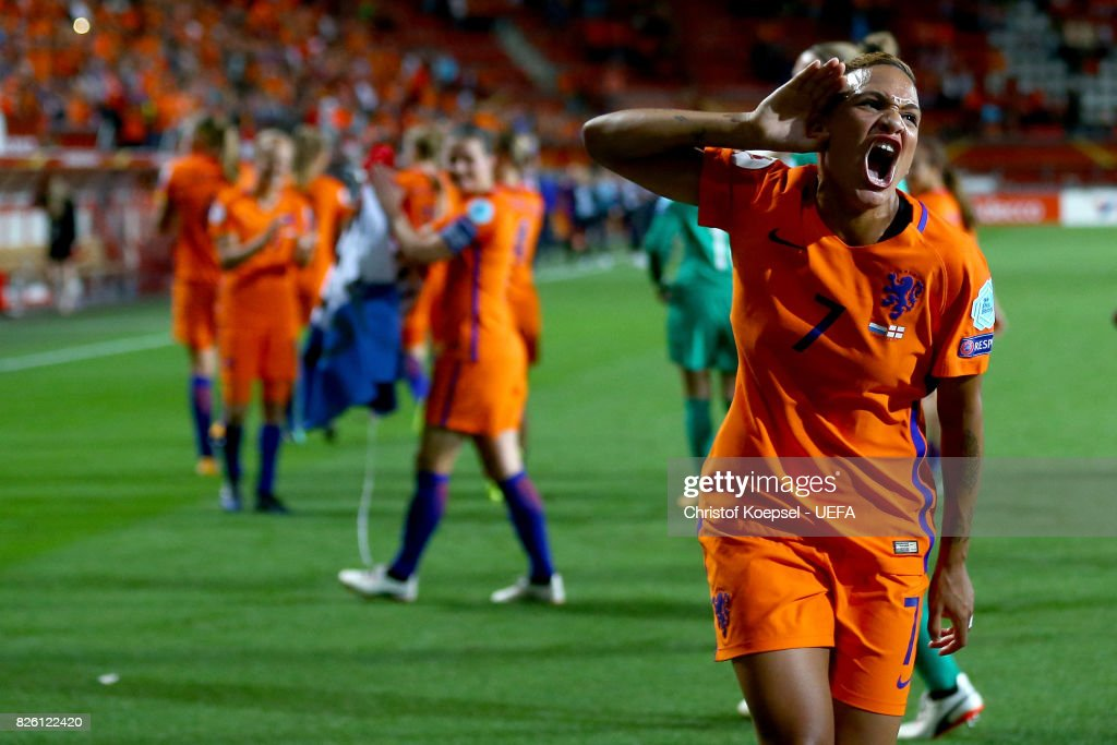 Shanice van de Sanden of the Netherlands celebrates after winning 3-0 the UEFA Women's Euro 2017 Second Semi Final match between Netherlands and England at De Grolsch Veste Stadium on August 3, 2017 in Enschede, Netherlands.
