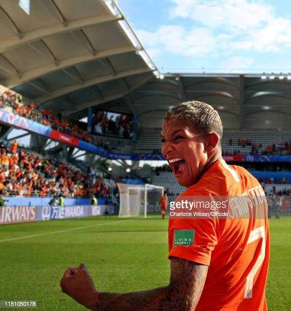 Shanice Van De Sanden of the Netherlands celebrates as Netherlands get through to the knockout round during the 2019 FIFA Women's World Cup France...