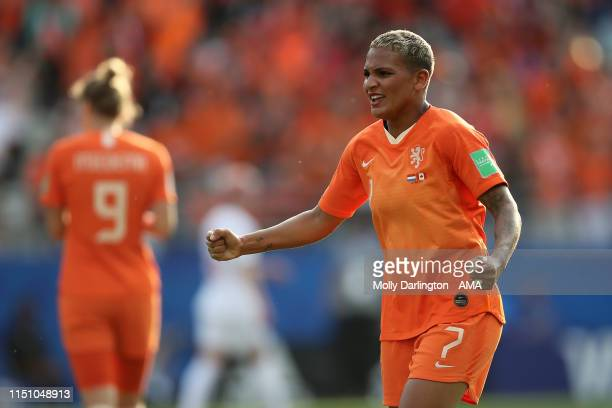 Shanice Van De Sanden of the Netherlands celebrates victory after the 2019 FIFA Women's World Cup France group E match between Netherlands and Canada...