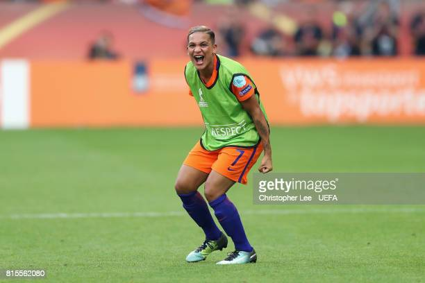 Shanice van de Sanden of the Netherlands celebrates victory after the Group A match between Netherlands and Norway during the UEFA Women's Euro 2017...