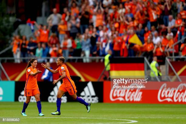 Shanice van de Sanden of the Netherlands celebrates with Danielle van de Donk of the Netherlands after scoring her sides first goal during the Group...