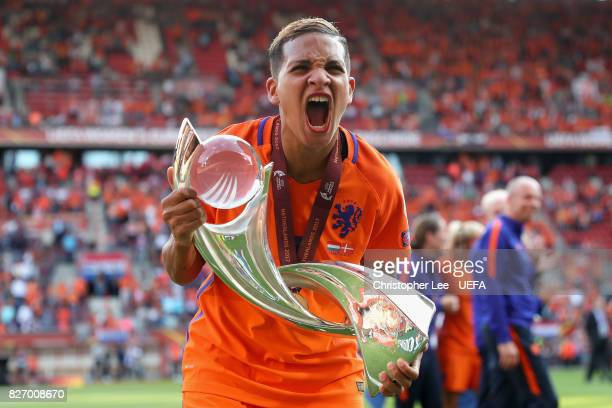 Shanice van de Sanden of the Netherlands celebrates with The trophy after the Final of the UEFA Women's Euro 2017 between Netherlands v Denmark at FC...