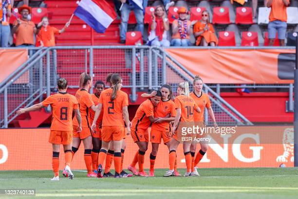 Shanice Van de Sanden of the Netherlands is celebrating her goal during the Friendly match woman match between Netherlands and Norway at Grolsch...