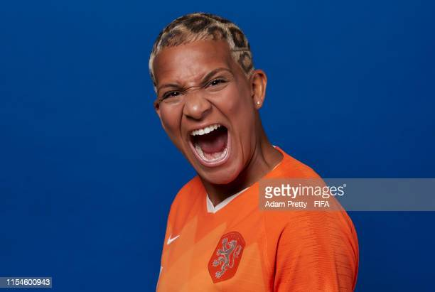 Shanice Van De Sanden of the Netherlands poses for a portrait during the official FIFA Women's World Cup 2019 portrait session at Hotel Novotel Le...