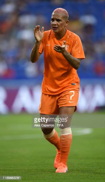 Shanice Van De Sanden of the Netherlands warms up prior to the 2019 FIFA Women's World Cup France Semi Final match between Netherlands and Sweden at...