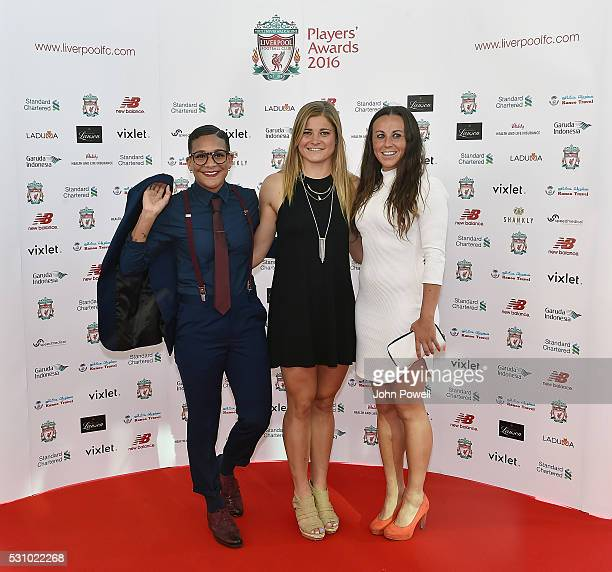 Shanice Van De Sanden Rosie White and Natasha Harding of Liverpool Ladies arrive at the Liverpool FC End of Season Awards at The Exhibition Centre on...