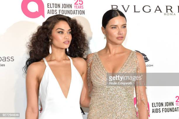 Shanina Shaik Adriana Lima attend the 26th annual Elton John AIDS Foundation's Academy Awards Viewing Party at The City of West Hollywood Park on...