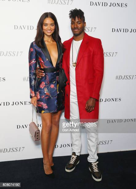 Shanina Shaik and DJ Ruckus arrive ahead of the David Jones Spring Summer 2017 Collections Launch at David Jones Elizabeth Street Store on August 9...