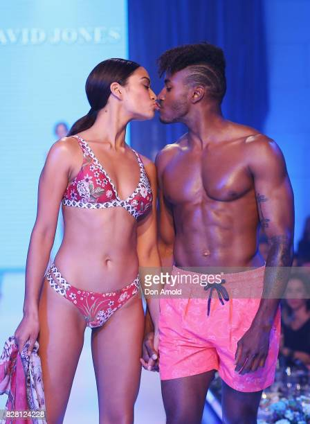 Shanina Shaik and DJ Ruckus kiss on the runway during the David Jones Spring Summer 2017 Collections Launch at David Jones Elizabeth Street Store on...