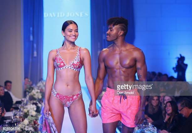 Shanina Shaik and DJ Ruckus showcase designs on the catwalk during the David Jones Spring Summer 2017 Collections Launch at David Jones Elizabeth...