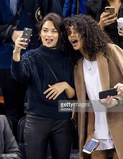 Shanina Shaik and Grace Mahary attend Winnipeg Jets Vs New York Rangers game at Madison Square Garden on November 6 2016 in New York City