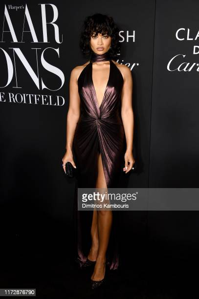 Shanina Shaik attends as Harper's BAZAAR celebrates ICONS By Carine Roitfeld at The Plaza Hotel presented by Cartier Arrivals on September 06 2019 in...