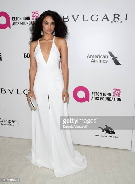 Shanina Shaik attends Elton John AIDS Foundation 26th Annual Academy Awards Viewing Party at The City of West Hollywood Park on March 4 2018 in Los...