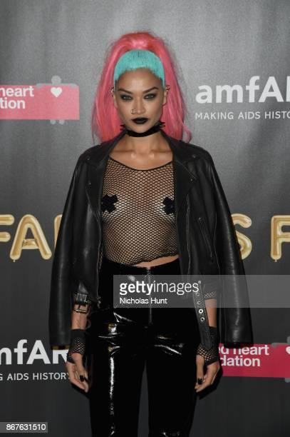Shanina Shaik attends the 2017 amfAR The Naked Heart Foundation Fabulous Fund Fair at Skylight Clarkson Sq on October 28 2017 in New York City