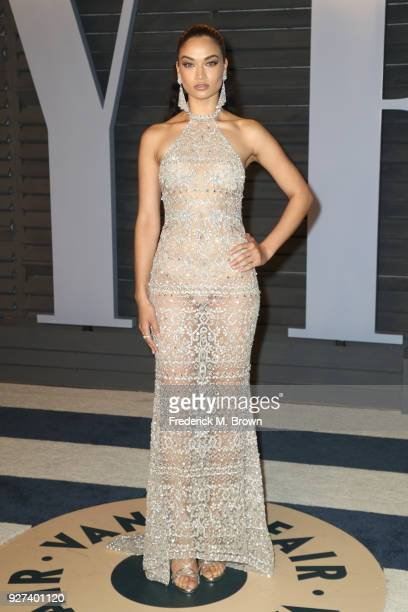 Shanina Shaik attends the 2018 Vanity Fair Oscar Party hosted by Radhika Jones at Wallis Annenberg Center for the Performing Arts on March 4 2018 in...