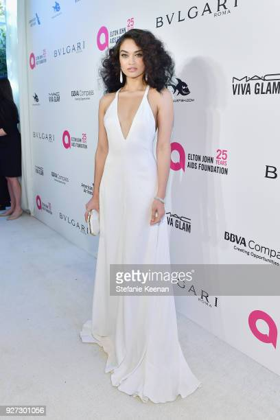 Shanina Shaik attends the 26th annual Elton John AIDS Foundation Academy Awards Viewing Party sponsored by Bulgari celebrating EJAF and the 90th...