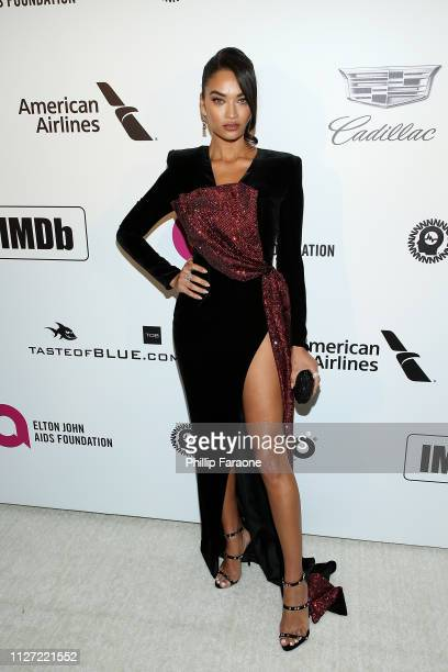 Shanina Shaik attends the 27th Annual Elton John AIDS Foundation Academy Awards Viewing Party Celebrating EJAF and The 91st Academy Awards on...