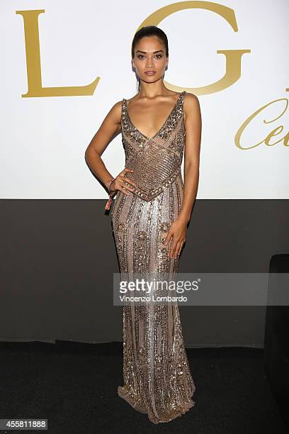 Shanina Shaik attends the amfAR Milano 2014 Cocktail as part of Milan Fashion Week Womenswear Spring/Summer 2015 on September 20 2014 in Milan Italy