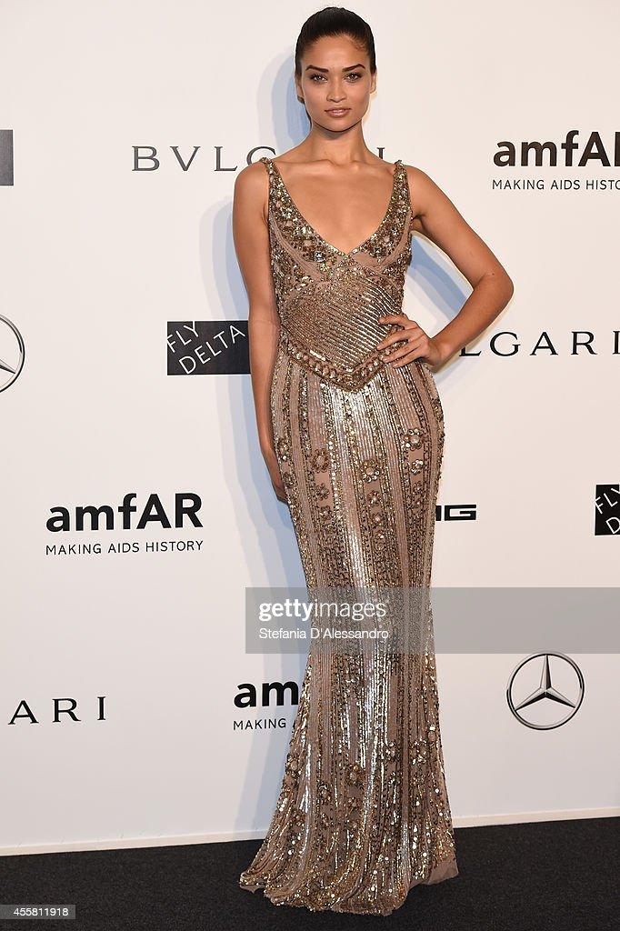 Shanina Shaik attends the amfAR Milano 2014 - Gala as part of Milan Fashion Week Womenswear Spring/Summer 2015 on September 20, 2014 in Milan, Italy.