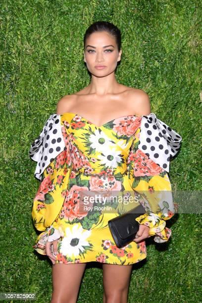 Shanina Shaik attends the CFDA / Vogue Fashion Fund 15th Anniversary Event at Brooklyn Navy Yard on November 5 2018 in Brooklyn New York