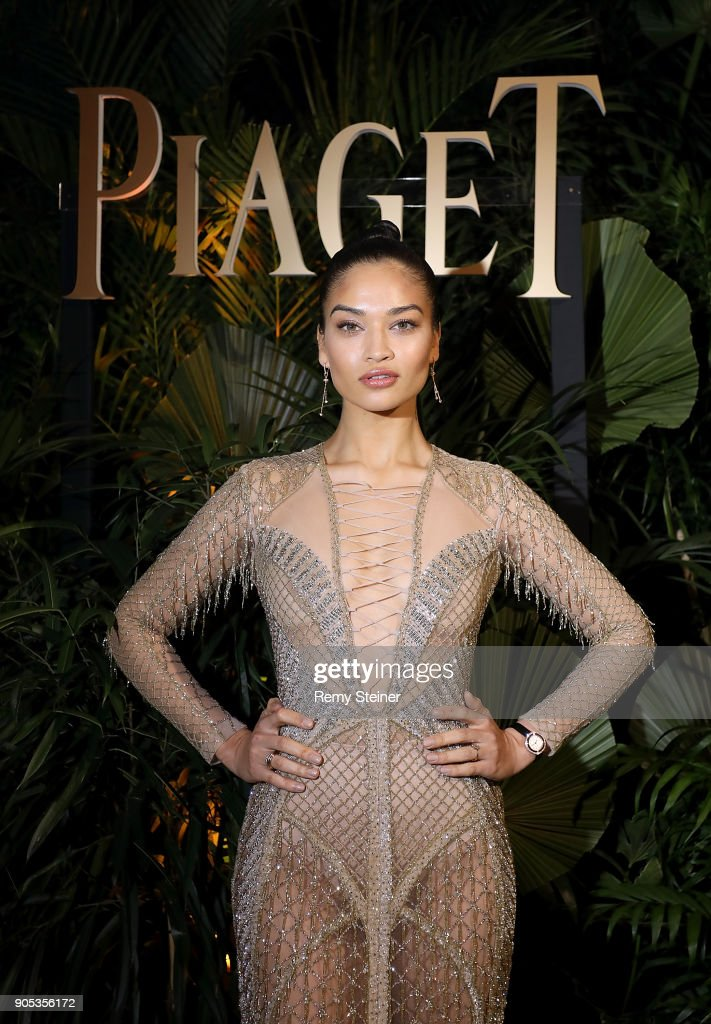 Shanina Shaik attends the #Piaget dinner at the Country Club during the #SIHH2018 on January 15, 2018 in Geneva, Switzerland.