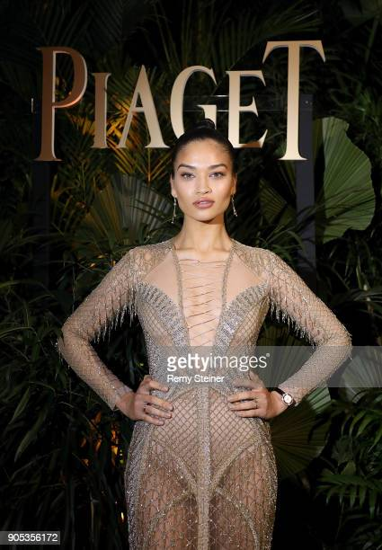 Shanina Shaik attends the #Piaget dinner at the Country Club during the #SIHH2018 on January 15 2018 in Geneva Switzerland