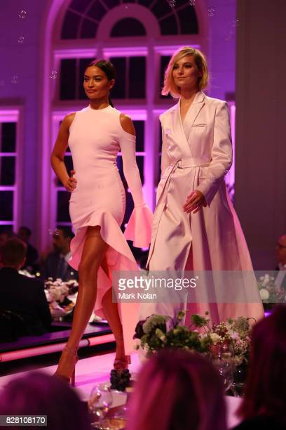 Shanina Shaik in By Johnny and Bridget Malcolm in Bianca Spender walk the runway during the David Jones Spring Summer 2017 Collections Launch at...