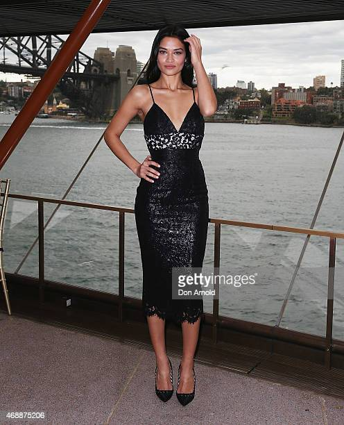 Shanina Shaik poses prior to Carla Zampatti's 50th anniversary show at Sydney Opera House on April 8 2015 in Sydney Australia