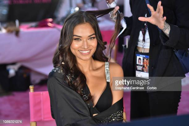 Shanina Shaik prepares backstage ahead of the 2018 Victoria's Secret Fashion Show at Pier 94 on November 8 2018 in New York City