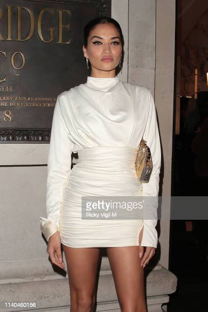Shanina Shaik seen attending the Pat McGrath 'A Technicolour Odyssey' Campaign launch party at Brasserie of Light Selfridges on April 04 2019 in...