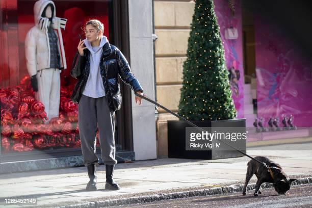 Shanina Shaik seen walking her dog in central London on November 13, 2020 in London, England.