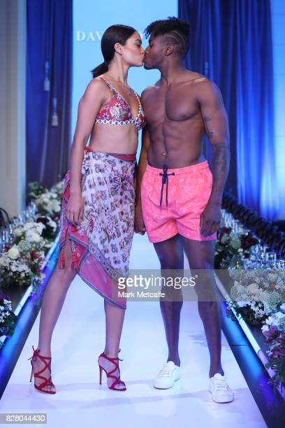 Shanina Shaik showcases designs by Milea with DJ Ruckus wearing The Rocks Push during rehearsal ahead of the David Jones Spring Summer 2017...