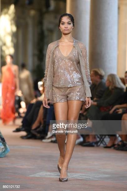 Shanina Shaik walks the runway at the Alberta Ferretti show during Milan Fashion Week Spring/Summer 2018 on September 20 2017 in Milan Italy