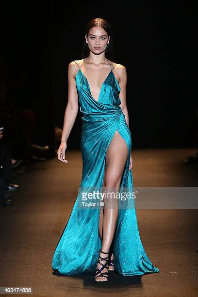 Shanina Shaik walks the runway during Naomi Campbell's Fashion For Relief 2015 fall fashion show at The Theater at Lincoln Center on February 14 2015...