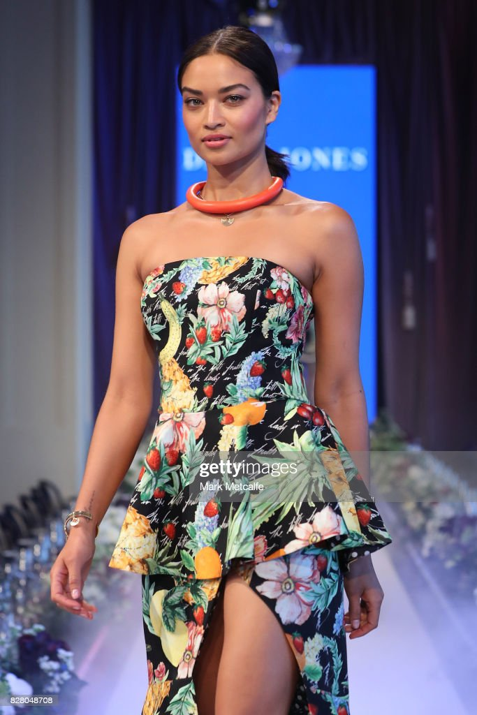 Shanina Shaik walks the runway in a design by Camilla during rehearsal ahead of the David Jones Spring Summer 2017 Collections Launch at David Jones Elizabeth Street Store on August 9, 2017 in Sydney, Australia.