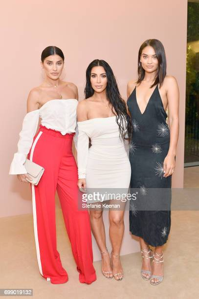 Shanina Shalk; Kim Kardashian West and Nicole Williams celebrates The Launch Of KKW Beauty on June 20, 2017 in Los Angeles, California.