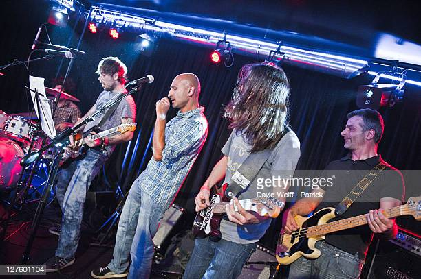 Shanka Kemar Gulbenkian and Bertrand Dessoliers from No One is Innocent perform at Cafe 114 for Fender Jaguar Kurt Cobain Guitar launch on September...