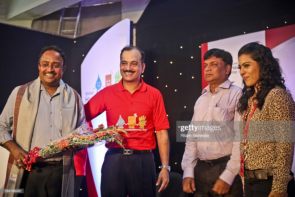 Shankar Narayanan of EPSI CEO MD of Unilever India Nitin Paranjpe the School Principal and Bollywood Actress Kajol attend a Global Handwashing Day...